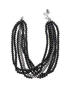 Jules B Silver-Tone Bauble Bazaar Jet Multi-Strand Bead Necklace