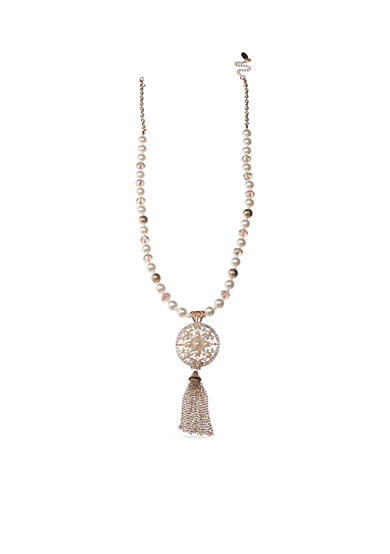 Jules B Gold-Tone Pearl Tassel Pendant Necklace