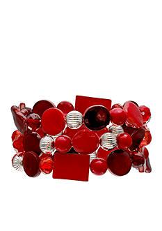 Jules B Silver-Tone Little Red Wagon 3-Piece Set Red Stretch Bracelet Set