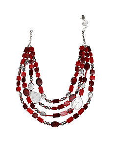 Jules B Silver-Tone Little Red Wagon Bead Multistrand Necklace