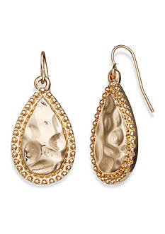 Jules B Gold-Tone Sun Kissed Hammered Teardrop Earrings
