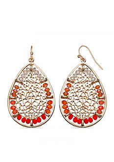 Jules B Gold-Tone Sun Kissed Filigree Teardrop Earrings