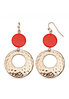 Jules B Gold-Tone Sun Kissed Hammered Double Drop Earrings