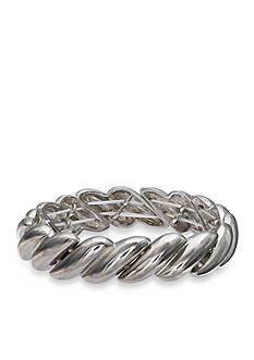 Jules B Silver-Tone Statue of Liberty Braided Polished Stretch Bracelet