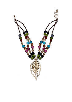 Jules B Gold-Tone In Living Color Leaf Pendant Necklace