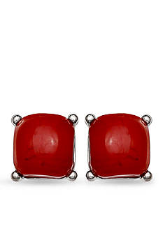 Jules B Silver-Tone Little Red Wagon Red Square Studs