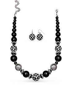 Jules B Silver-Tone Football Spirit Beaded Necklace and Earring Set