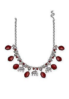 Jules B Silver-Tone Football Spirit Elephant Collar Necklace