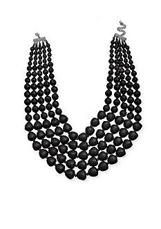 Jules B Silver-Tone Beaded Multistrand Collar Necklace