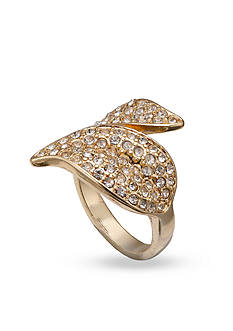 Jules B Gold-Tone Crystal Wrap Leaf Ring