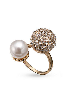 Jules B Gold-Tone Pearl Crystal Dome Ring