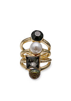 Jules B Gold-Tone Crystal Onyx 4-Piece Ring Set