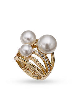 Jules B Gold-Tone Triple Pearl Stretch Band Rings