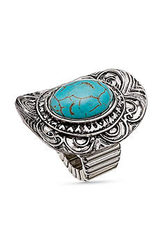 Jules B Silver-Tone Embellished Oval Turquoise Stretch Ring