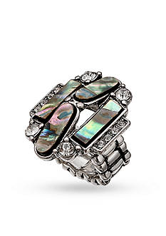 Jules B Silver-Tone Art Deco Mother of Pearl Stretch Rings