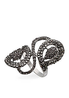 Jules B Silver-Tone Hematite Crystal Statement Ring