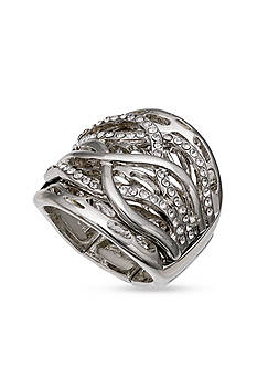 Jules B Silver-Tone Crisscross Crystal Stretch Band Ring