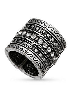 Jules B Silver-Tone Crystal Wide Band Stretch Rings