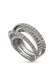 Jules B Silver-Tone Crystal Layered Ring