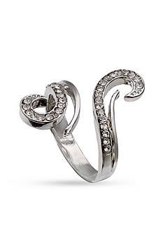 Jules B Silver-Tone Crystal Swirl Ring