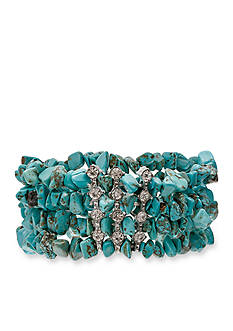 Jules B Silver-Tone Iridescence Turquoise Stretch Bracelet