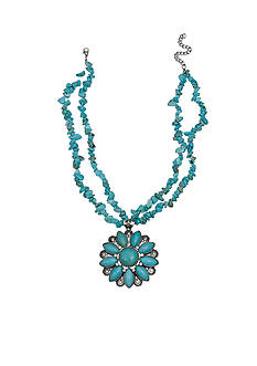 Jules B Silver-Tone Iridescence Turquoise Flower Pendant Necklace