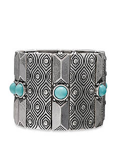 Jules B Silver-Tone Iridescence Turquoise Wide Stretch Bracelet