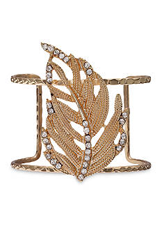 Jules B Gold-Tone Girls & Their Pearls Hammered Cuff Bracelet