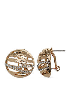 Jules B Gold Tone Gilt Trip Crystal Button Earrings