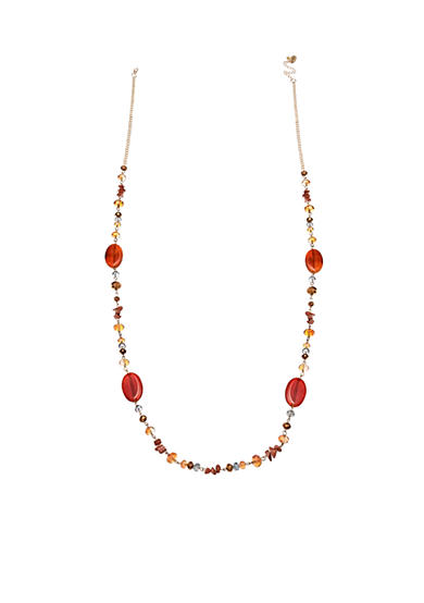 Jules B Gold-Tone Brown Beaded Long Necklace