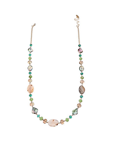 Jules B Gold-Tone Multi Glass Bead Long Necklace