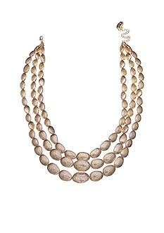 Jules B Gold-Tone Gilt Trip 3 Row Disc Necklace