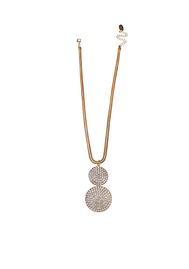 Jules B Gold Tone Snake Charmer Gold Double Disc Pave Crystal Pendant