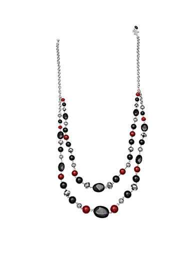 Jules B Silver-Tone Double Row Beaded Long Necklace