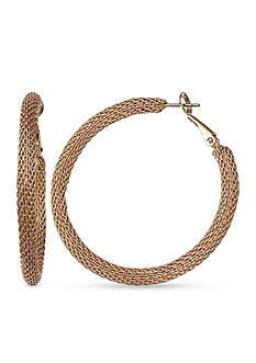 Jules B Gold-Tone Snake Charmer Mesh Hoop Earrings