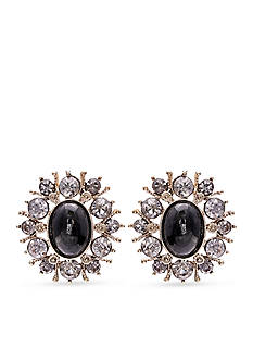 Jules B Gold-Tone Jet Crystal Button Earrings