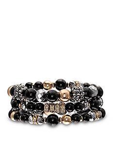 Jules B Gold-Tone Little Black Dress 3-Piece Stretch Bracelet Set
