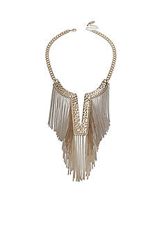 Jules B Gold-Tone Gilt Trip Fringe Statement Necklace