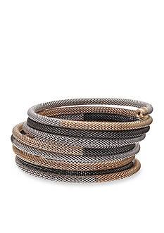 Jules B Hematite-Tone Snake Charmer Mesh Coil Bracelet