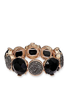 Jules B Gold-Tone Little Black Dress Crystal Stretch Bracelet