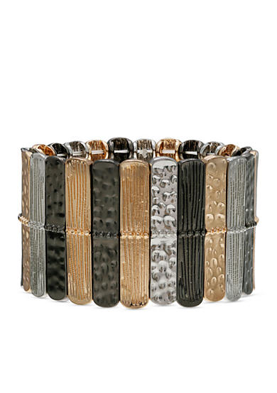 Jules B Tri-Tone Gilt Trip Bars Stretch Bracelet