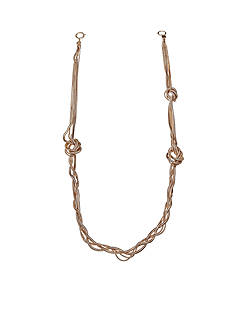 Jules B Gold Tone Snake Charmer Gold Long Knotted Necklace