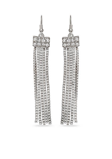 Jules B Silver-Tone Snake Charmer Crystal Tassel Drop Earrings
