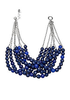 Jules B Silver-Tone Bauble Bazaar Royal Blue Bead Multi Strand Necklace
