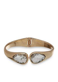 Jules B Gold Tone Gilt Trip Crystal Cuff Bracelet