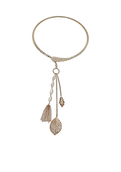 Jules B Gold-Tone Gilt Trip Crystal Collar Tassel Necklace