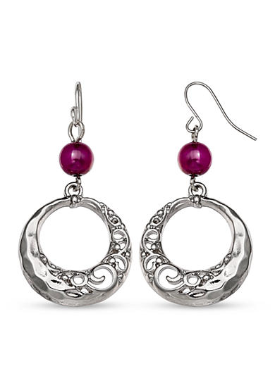 Jules B Silver-Tone Purple Rain Bead and Swirl Drop Earrings