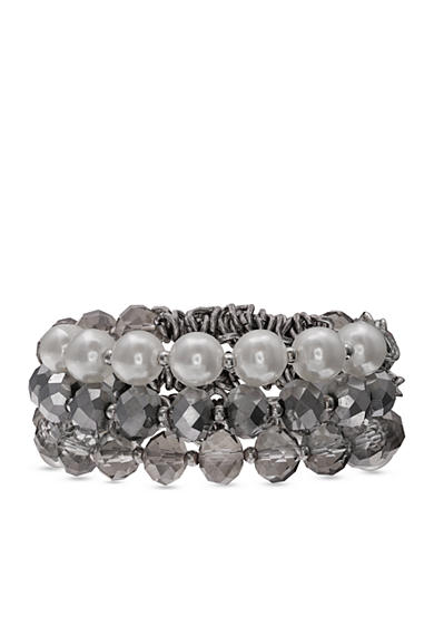 Jules B Silver-Tone Girls & Their Pearls Beaded Stretch Bracelet Set