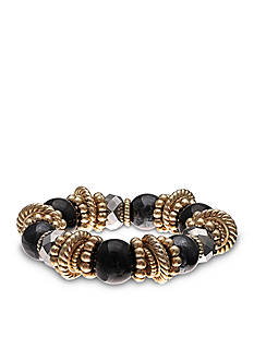 Jules B Gold-Tone Little Black Dress Beaded Stretch Bracelet
