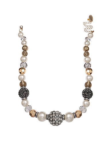 Jules B Gold-Tone Girls & Their Pearls Chunky Statement Necklace